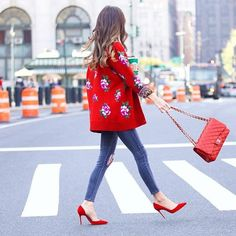 Make a lavish impression with statement red hued pumps.