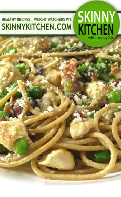 SkinnyDecadent Chicken Carbonara. Normally so fattening this skinny version is absolutely delicious! Each serving has 389 calories, 8g fat & 9 Weight Watchers POINTS PLUS. http://www.skinnykitchen.com/recipes/%EF%BB%BFskinnydecadent-chicken-carbonara