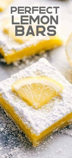 Perfect Lemon Bars will be the best lemon bars that you ever make. The shortbread crust topped with a tart and rich lemon center and finished off with a sprinkling of powder sugar. 13 Desserts, Spring Desserts, Lemon Desserts, Lemon Recipes, Delicious Desserts, Dessert Recipes, Yummy Food, Bar Recipes, Tamales