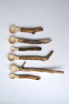 Linda Fahey  Ceramic/driftwood Spoons - MADE TO ORDER only. $35.00, via Etsy.