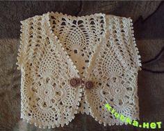 gehaakt vest - crochet cardigan  (Free Russian pattern)  Жилет для девочки крючком