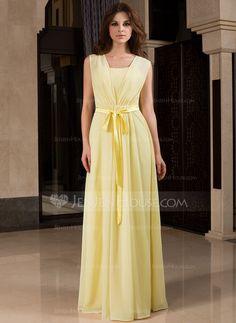 Bridesmaid Dresses - $99.99 - A-Line/Princess V-neck Floor-Length Chiffon Charmeuse Bridesmaid Dress With Ruffle (007027453) http://jenjenhouse.com/A-Line-Princess-V-Neck-Floor-Length-Chiffon-Charmeuse-Bridesmaid-Dress-With-Ruffle-007027453-g27453?ver=1
