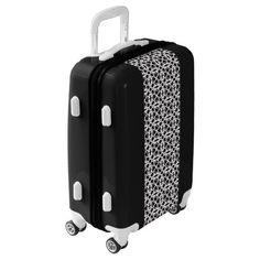 Black and white sitting woman pattern luggage