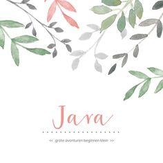 Botanisch geboortekaartje voor een meisje met groene en roze takjes. Dit geboortekaartje is verkrijgbaar bij #kaartje2go voor €1,99