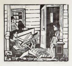 Waiting woodcut, Will Barnet