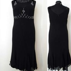 GATSBY Flapper Dress   Black Evening Dress, Asymetrical Formal Evening Dress  Charleston Dress  Vintage  Retro Fashion   Size M-L  12-14