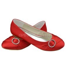 Satin Flat Heel Closed Toe, Flats Women's Shoes Red Wedding Shoes  These would be perfect for me