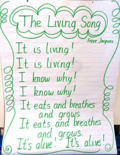Here's a song for teaching young students how to identify living things. Includes a download of the lyrics.