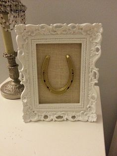 White Glossy Ornate Framed Gold Hand Painted by LuckyPonyShop, $40.00