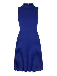 Yumi: Pleated High Neck Midi Dress Blue, Product CodeYRDD27