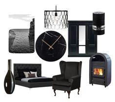 Paint it Black by ladendirekt on Polyvore featuring interior, interiors, interior design, home, home decor and interior decorating