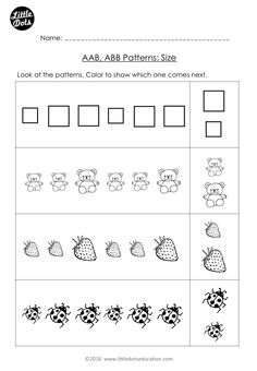 Free Aab And Abb Patterns Worksheet For Kindergarten Level