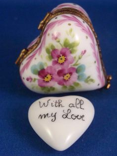 With All My Love - Floral Heart with White Heart - FRENCH LIMOGES box
