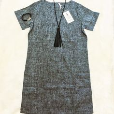 GOING FAST! Shoba Linen A-Line Dress, Gray This dress is easy to wear, classic, chic and cool.  The fabric is high quality 70% linen 30% cotton - cool and soft for summer!  Wear it for casual outings or dress it up with a statement necklace and flats.  The waist tie is detached, so you can wear this relaxed or with a waistline.  Perfect! Dresses