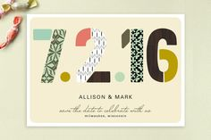 Pattern Numbers Save the Date Cards by Alethea and Ruth at minted.com