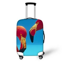 Travel Luggage Cover Birds Tropical Leaves Paint Pink Suitcase Protector