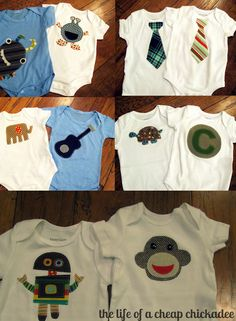 tons of onesie ideas in this post! The Life of a Cheap Chickadee