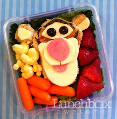 This must be the coolest mom ever. There are dozens of adorable ideas for packing a lunch.  Bento Day 149  They're bouncy, trouncy, flouncy, pouncy, fun, fun, fun, fun!