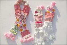 coordinating scarf and gloves from unmatched socks