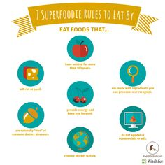 7 Superfoodie Rules to Eat By  Don't eat less, eat better and add more superfoods to your diet. When you have so much good, you'll slowly crowd out the not-so-good.  #picsandpalettes #abesmarket
