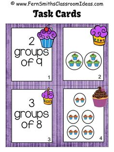 #FreebieFriday ~ #FREE Relating Addition to Multiplication Task Cards with a Cupcake Theme, An additional resource for Go Math, Third Grade, Chapter Three. #FREEBIE