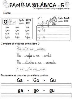 1 2 3 Aprendendo Outra Vez Atividades Com A Letra G