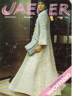 1970s amazing long flowing spiral Coat crochet by tinpotlil, $3.00