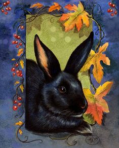 Black Bunny Rabbit Fall Background done in Colored Pencil and Ink