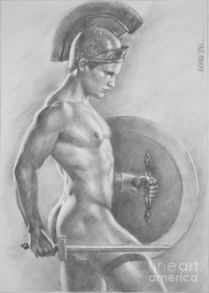 Original Sketch Painting - Original Drawing Sketch Charcoal  Male Nude Gay Man Art Pencil On Paper-073 by Hongtao     Huang