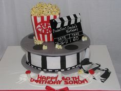 Movie Themed 60Th Birthday Cake This cake was made for my Mom's 60th birthday. She loves to go to the movies and eat popcorn...so this...