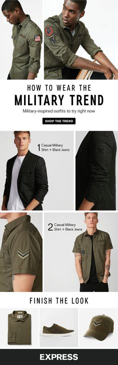 This winter mix up your casual outfits with military shirts, jackets and accessories. Swap your suit jacket for a military blazer, or rock a casual military shirt for hanging out on the weekend. Finish the look with military green shoes and baseball hats.