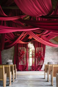 Burgundy Wedding Ceremony Decor - Photography: Tasha Seccombe