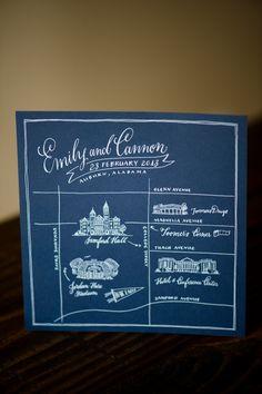 Custom map of the Auburn area surrounding the wedding; Samford Lawn, Toomer's Corner and the Hotel at Auburn University!