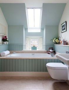 Blue and Green Bathroom Decor . 24 New Blue and Green Bathroom Decor . Blue and Green Kids Bathrooms Contemporary Bathroom Wainscoting Bathroom, Master Bathroom, Bathroom Bath, Skylight Bathroom, Bathroom Laundry, Attic Bathroom, Bath Shower, Bathroom Cabinets, Bad Inspiration