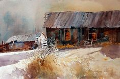 Carl Purcell, a popular watercolor painter and instructor, offers tips and insights into painting, drawing, and the artistic mind Watercolor Barns, Watercolor Architecture, Watercolor Landscape Paintings, Landscape Art, Watercolour Tutorials, Watercolor Ideas, Unique Buildings, Painting Techniques, Paisajes