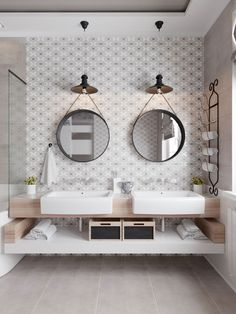 Love the contrast and texture in this tonal modern farmhouse bathroom!