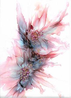 Flower wall art, printable wall art, alcohol ink p Art Floral, Art Mural Floral, Floral Flowers, Alcohol Ink Crafts, Alcohol Ink Painting, Alcohol Ink Art, Watercolor Flowers, Watercolor Art, Art Abstrait