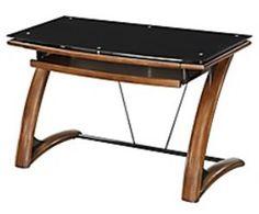 "OfficeFurniture4sale. Whalen Tribeca Desk, 30""H x 48""W x 24""D, SKU# 846619, Dark Mahogany/Glass"