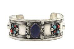 """""""Bracelet ethnique Pondichéry""""-Bracelet en lapis lazuli et argent de créateur homme et femme"""