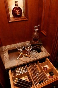 Closet with built-in cigar humidor .