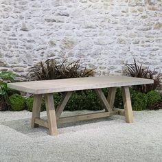 bordeaux concrete top table 8′ teak outdoor furniture outdoor