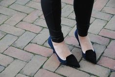 Date night is not complete without these fabulous navy and black suede heels by Aerin. Pair with some leggings, a blouse and navy accessories