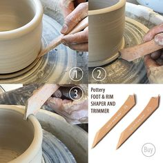 This Pottery Foot & Rim Shaper and Trimmer is a must-have essential clay tool for any ceramic artists - no toolkit is complete without one! The Foot and Rim Shaper end has a smooth concave edge to effortless create a consistent foot on all pieces (pots, bowls, cups, vases, cylinders,