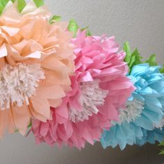 Oopsy Daisy 5 Giant Hanging Paper Flowers, oversize, wedding, bridal/baby shower, photo booth, birthday decor, Party Blooms by Whimsy Pie. $32.50, via Etsy.
