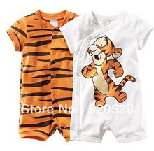 baby short sleeve cartoon tiger bodysuits romper boy's girl's Wear Stripes baby Romper baby clothes(China (Mainland))