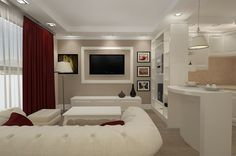 Design interior living de lux realizat in stil new clasic pentru apartament open space in Constanta .