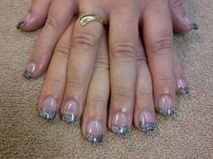 Sculptured  acrylic with glitter french