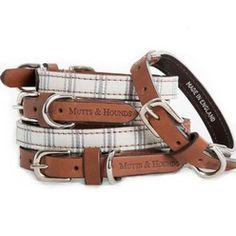 This classic collar is made from hardwearing organic ticking, Bruccatio leather and solid brass hardware and will look as good on the country set as on the debonair dog about town. British company Mutts