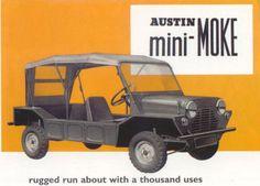 1965 Austin mini-MOKE, based on the Mini! Classic Mini, Classic Cars, Minis, Car Posters, Small Cars, Vintage Ads, Jaguar, Old School, Monster Trucks
