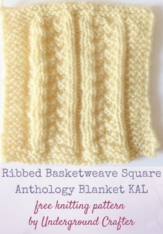 "Ribbed Basketweave Square, free knitting pattern by Underground Crafter | This stitch pattern combines ribbing with a basketweave to create a beautifully textured block. This is one of 30 free knitting patterns for 6"" (15 cm) squares in the Anthology Blanket KAL."
